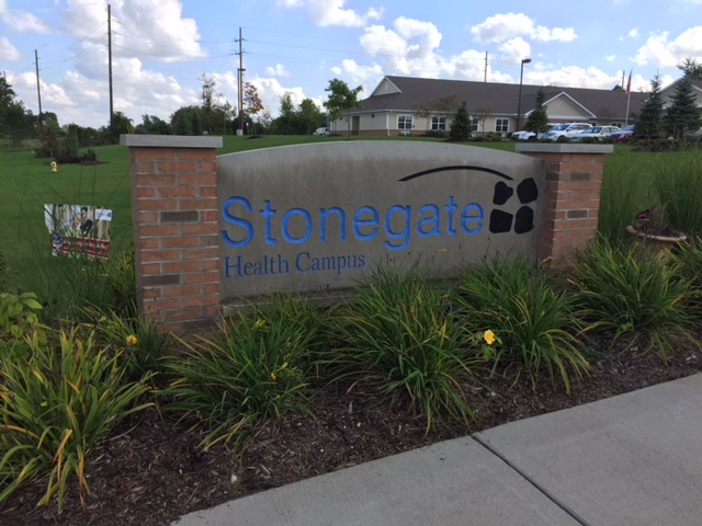 Stonegate Health Campus sign.